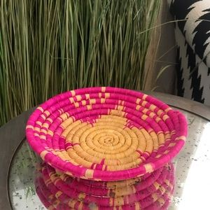 Other - Pink and Cream Small Woven Coil Catchall Basket